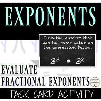 Rational Exponents Task Card Activity - Radicals