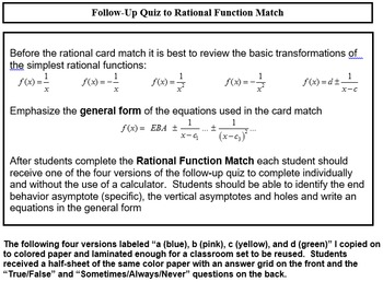 Rational Function Card Match (Precalculus)