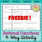 Rational Functions Four Square Activity