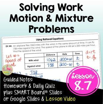 Algebra 2: Work and Motion Problems