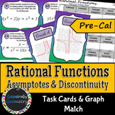 Rational Functions: Asymptotes & Discontinuity Task Cards
