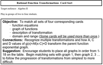 Rational Functions Card Match (Alg 2)