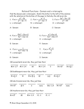 Rational Functions - Domain and x-intercept