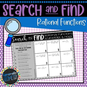 Rational Functions: Finding Holes & Asymptotes Search & Find; Algebra 2