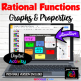 Rational Functions Graphing and Properties with Google Slides™ Digital Organizer