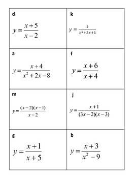 Rational Functions I Have - Who Has Activity