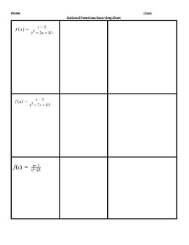Rational Functions Matching Activity