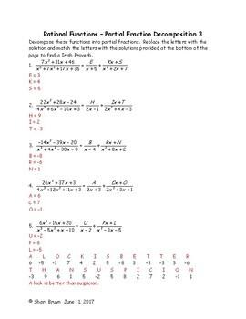 Rational Functions - Partial Fraction Decomposition bundle