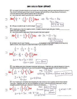 Rational Functions - Real World Applications