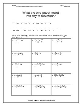 Solving Rational Equations Worksheets by Algebra Funsheets | TpT