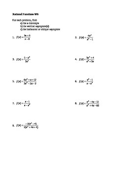 rational functions worksheet - Rational Functions Worksheet
