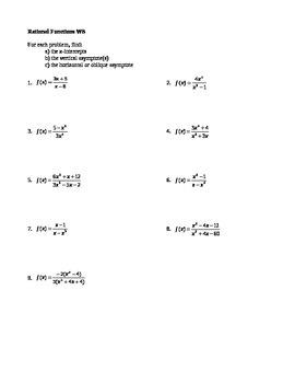 Rational Functions Worksheet
