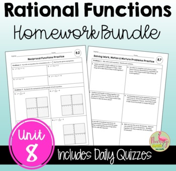 Algebra 2 Rational Functions and Graphs Homework Bundle