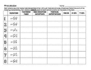 Rational Graphs Matching & Worksheet