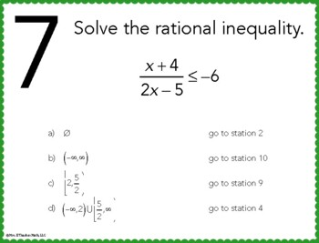 Rational Inequalities Stations Maze