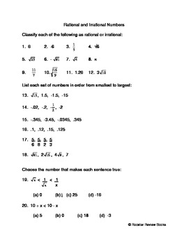 Rational And Irrational Numbers Worksheet | Teachers Pay Teachers