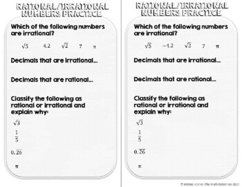 Rational & Irrational Numbers - Decorated Notes Brochure for Int. Notebooks
