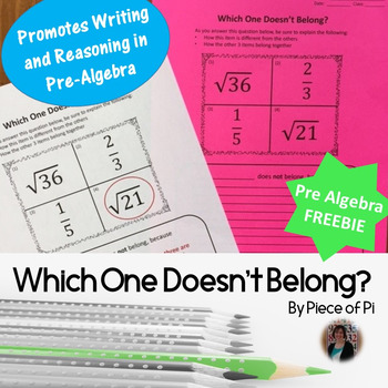 8th Grade Pre Algebra Rational Irrational Numbers Writing in Math FREEBIE
