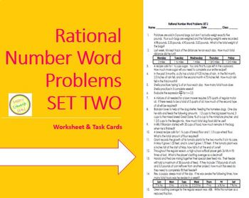 Rational Num (fraction, decimal) Word Probs-w task cards-Differentiated