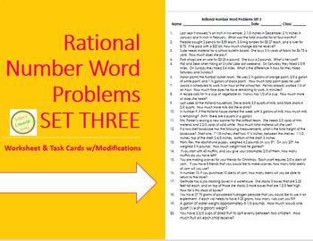 Rational Num (fraction, decimal) Word Probs-w task cards Differentiated SET 3