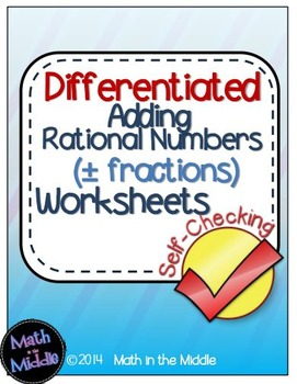 Rational Number Addition Self-Checking Worksheets - Differ