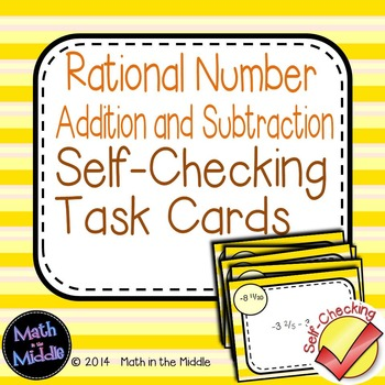 Rational Number Addition & Subtraction Self-Checking Task Cards
