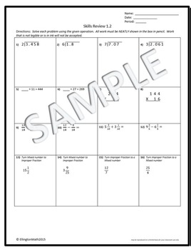 Rational Number Computation Review/Practice