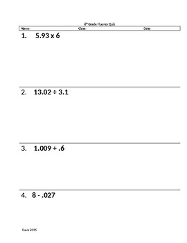 Rational Number Fluency Quiz 1