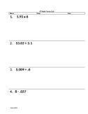Rational Number Fluency Quiz 1
