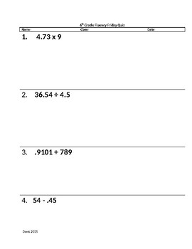 Rational Number Fluency Quiz 2