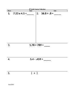 Rational Number Fluency Quiz 3