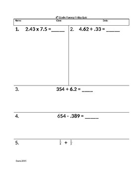 Rational Number Fluency Quiz 4