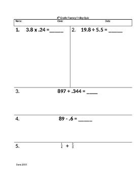 Rational Number Fluency Quiz 5
