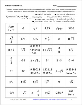 rational number maze irrational integers naturals worksheets review real - Rational Numbers Worksheet