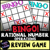 Rational Number Operations Math Bingo - Negative Fractions - Math Review Game