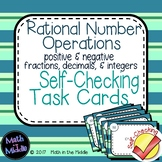Rational Number Operations Self-Checking Task Cards