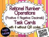 Rational Number Operations (positive & negative decimals) Task Cards - QR option
