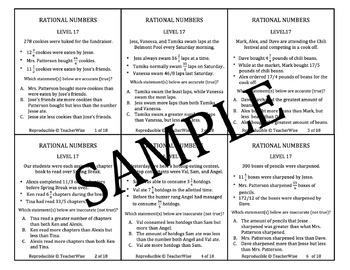 Rational Number Problem Solving Task Cards: Level 17: Comparing Word Problems