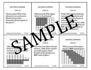 Rational Number Problem Solving Task Cards: Level 26  Percentage Word Problems