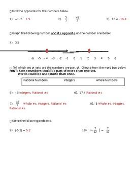 Rational Number Quiz