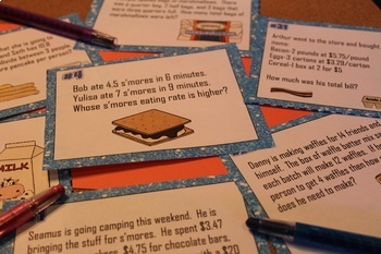 Rational Number Real World Problems Task Cards - Printable & Digital