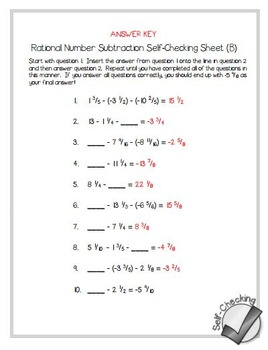Rational Number Subtraction Self-Checking Worksheets - Differentiated