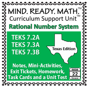 Rational Numbers System Unit TEKS 7.2A 7.3A 7.3B