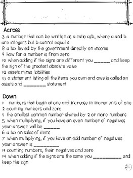 Rational Number System Vocabulary and Generalizations