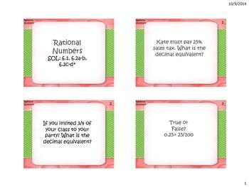 Rational Number Task Cards (VA SOL 6.1, 6.2a-b,  6.2c-d*)