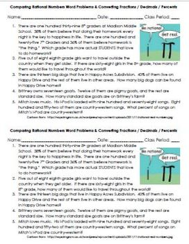 Rational Number Word Problems Quick Assessment