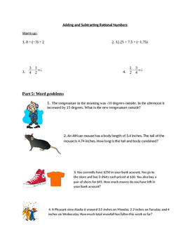 Rational Number word problems worksheet with pictures