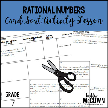 Rational Numbers Card Sort Activity Lesson