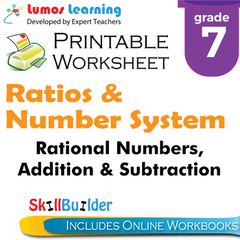 Rational Numbers, Addition & Subtraction Printable Worksheet, Grade 7