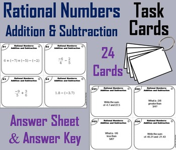 Rational Numbers Task Cards 4th 5th 6th 7th Grade Addition And